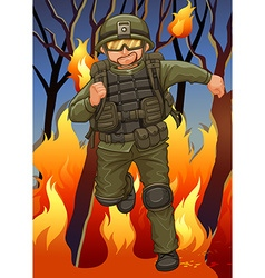 Soldier running away from wildfire vector