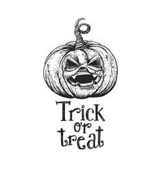 Trick or treat halloween pumpkin sketch vector