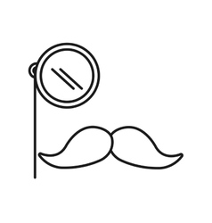 Mustache and glass gentleman icon vector