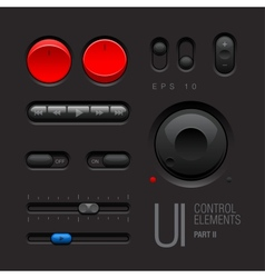 Dark Web UI Elements Buttons Switches vector image
