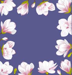 Vintage border made of beautiful magnolia flowers vector