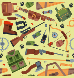 hunting camping outdoor time seamless vector image