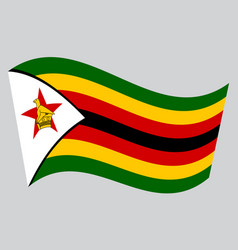 Flag of zimbabwe waving on gray background vector