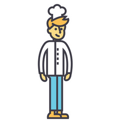 cooker young bartender chef concept line vector image
