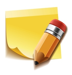 Realistic yellow stick note and pencil vector