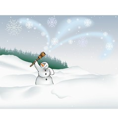 Landscape and snowman vector