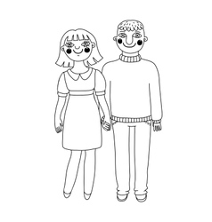 Drawn man and woman young couple in love vector