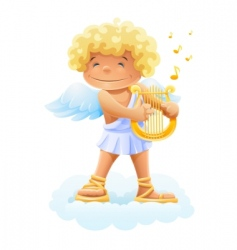 Smile cupid playing lyre vector