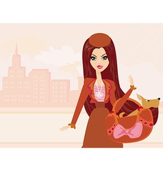 Fashion girl and her puppy in bag vector