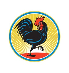 Rooster cockerel marching side retro vector
