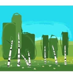 Landscape with birch vector