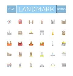 Flat landmark icons vector