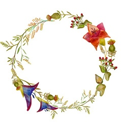 Handpainted watercolor of wreath design ele vector