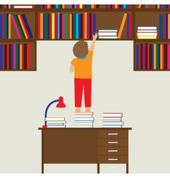 Child and books education flat concept vector