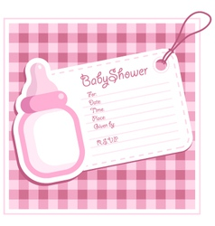 pink bottle baby shower card vector image