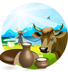 Cow pot vector