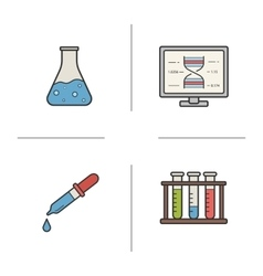 Chemical laboratory equipment flat design linear vector image