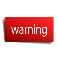 Warning red square isolated paper sign on white vector