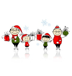 Christmas gifts happy family together vector