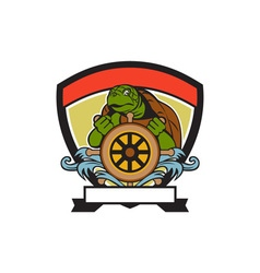 Ridley turtle at helm crest retro vector