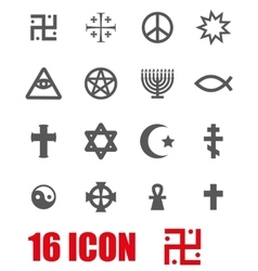 Grey religious symbols set vector