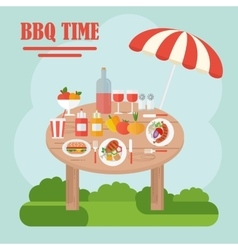 bbq table with food vector image