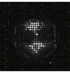 Black disco ball on black mosaic background vector image
