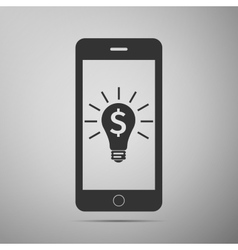 Business light bulb on smartphone screen User vector image vector image