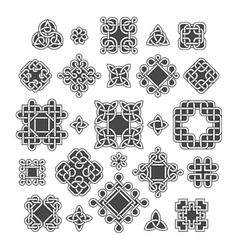 Chinese and celtic endless knots patterns vector