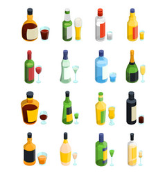 Colored isometric alcohol icon set vector