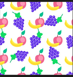 colorful fruits cartoon seamless pattern vector image
