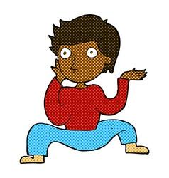 Comic cartoon boy doing crazy dance vector