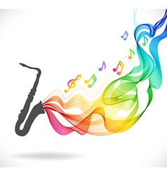 Dark gray saxophone icon with color abstract wave vector image