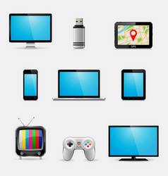 Electronic devices and multimedia gadgets icons vector