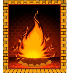 fire burning in fireplace vector image vector image