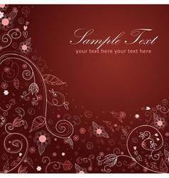 Floral twirl postcard brown vector image vector image