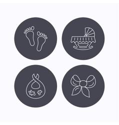 Footprint cradle and dirty bib icons vector image
