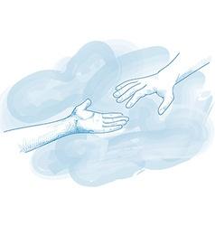 hands for help in blue tones vector image vector image