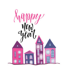 Happy new year poster with cute houses bright vector