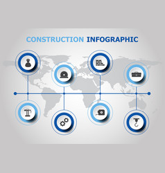 Infographic design with construction icons vector