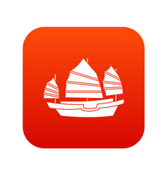 Junk boat icon digital red vector