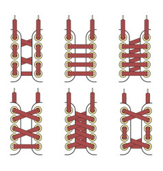 Laces tied up set vector