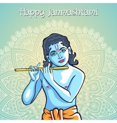 Lord krishana in happy janmashtami vector