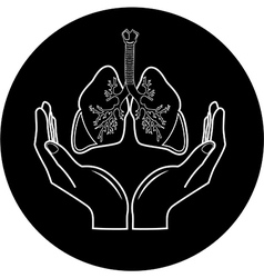 Medical icon protection of lungs vector