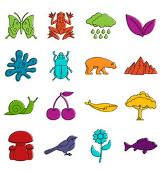 Nature items icons doodle set vector