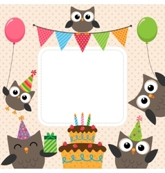 Party owls card vector image vector image