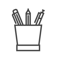 pencil stand line icon vector image vector image