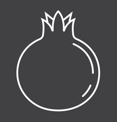 Pomegranate line icon fruit and garnet vector