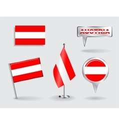 Set of austrian pin icon and map pointer flags vector