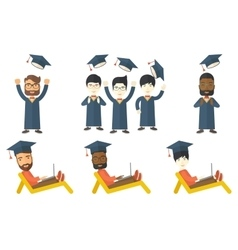 Set of graduate student characters vector